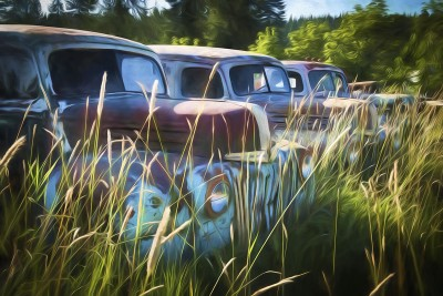 Line of Old Cars